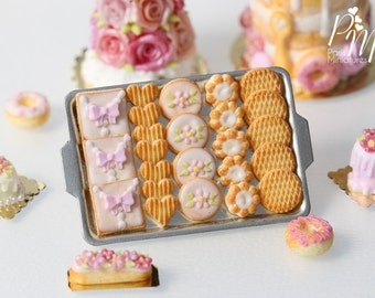 Pink Iced Butter Cookies and Plain Butter Cookies on Metal Baking Tray - 12th Scale Miniature Food (Pink Collection 2016)