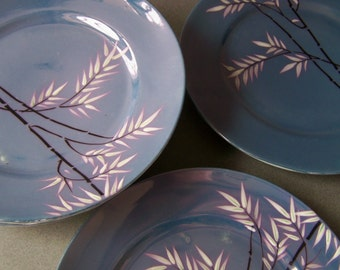 "Vintage Japanese Blue Lusterware Plates ~ Set of 6 ~ 7"" Plates ~ Bamboo Branch Design"