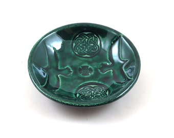 Raven CELTIC  Bowl Handmade Ceramic Raku Pottery in Emerald
