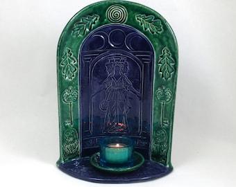 Hecate (Hekate) Goddess  Shrine - Handmade Ceramic Raku Pottery