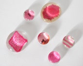 pink patterns magnet or push pin set - made from recycled magazines, stocking stuffer, hostess gift, graduation