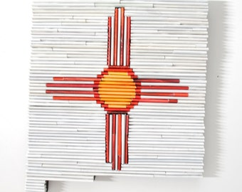 New Mexico - Recycled Magazine State wall art- state flag, magazine colors, orange, white, red, southern US, custom design, unique, wall art