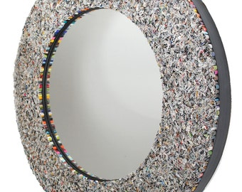 colorful round mirror, wall art- made from recycled magazines, blue, green, red, purple, pink, yellow, orange