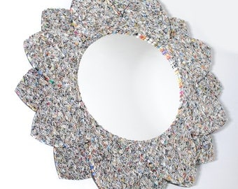Delicate flower mirror, wall art- made from recycled magazines, blue, green, red, purple, pink, yellow, orange