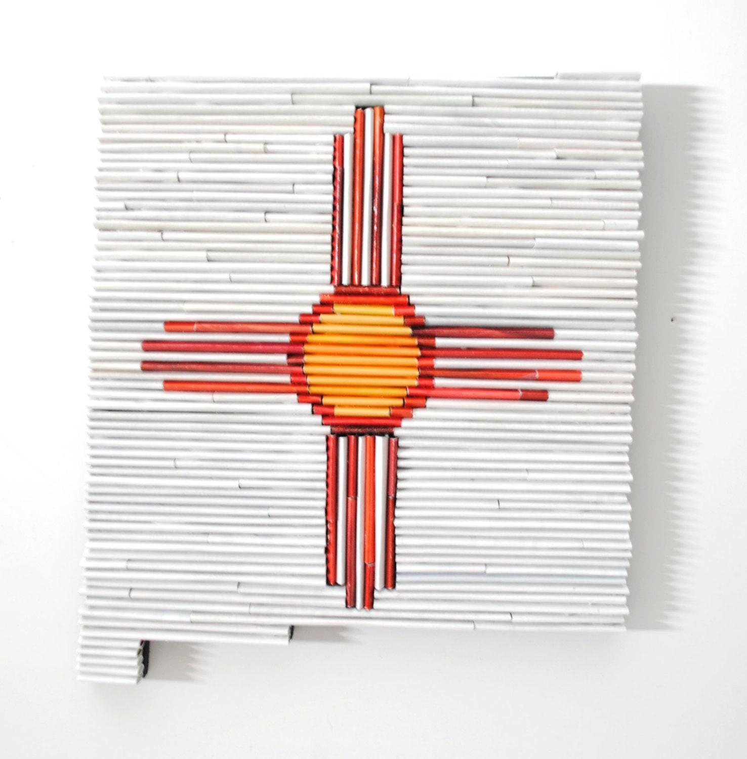 New mexico recycled magazine state wall art state flag - Magazine wall decor ...