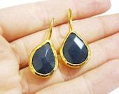 Dark Blue Quartz Earrings, Gold Plated Hook Earrings, Turkish Jewelry