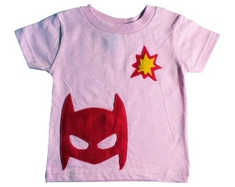 POW! Superhero/Super-SHE-ro Toddler T-Shirt - Light Pink - Girl or Boy