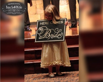 Carved lettering TWO-SIDED - Here Comes the Bride (W-028a) - custom wedding sign - photo prop