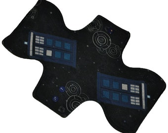 Moderate Core- Space Tardis Knit Reusable Cloth Overnight Pad- WindPro Fleece 10.5 Inches (26.5 cm)