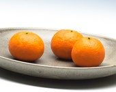Grey Tan Ceramic Plate/ Fruit Plate/ Serving Dish