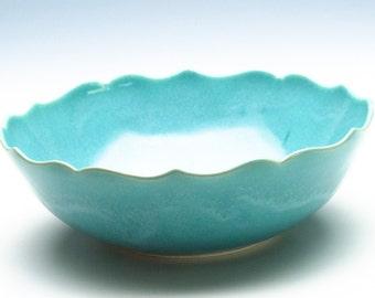 Aqua  Blue Lotus Ceramic Bowl/ Fruit Bowl/ Serving Bowl