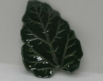 Decorative Porcelain Rhubarb Leaf Imprinted Plate Dish