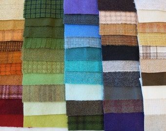 SALE Hand Dyed Felted Wool Scrap Bundle 1151 perfect for Rug Hooking, Applique, Quilting, and Sewing by Quilting Acres