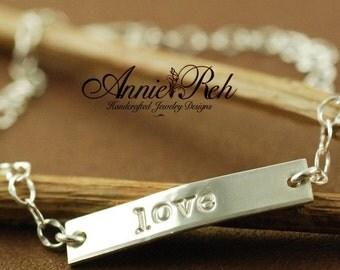 ON SALE Hand Stamped Jewelry - Personalized Jewelry - ID Style Bracelet - Love Bracelet - Sterling Silver Bracelet