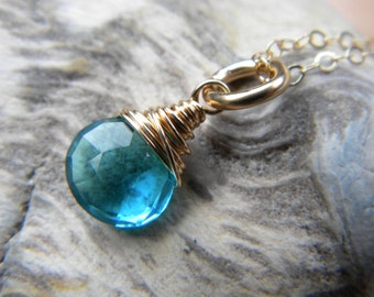 Bright blue hydro quartz faceted briolette solitaire necklace - gold filled handmade jewelry