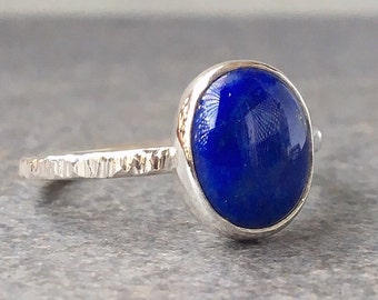 Blue Lapis Ring, Lapis and Silver Ring, Lapis Ring, Hammered Ring Band,  Made to Order Ring,