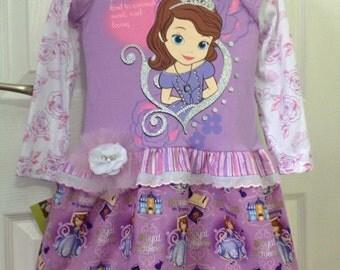 Handmade Princess Sofia the First T-Shirt Dress Size 4