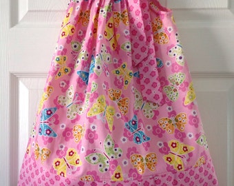 CLEARANCE - Pastel Butterfly Pillowcase Dress Size 3