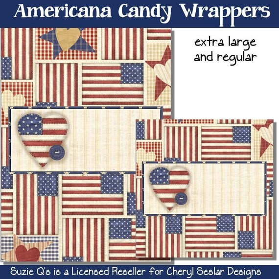 Americana Candy Bar Wrappers by Suzie Qs