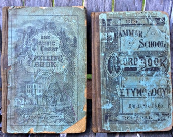 Set of 2 antique school books, late 1800's books, primary school books, display books, spelling and etymology books, photo props, vintage