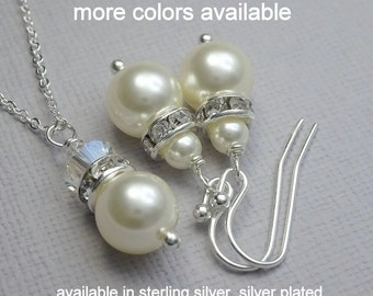 Personalized Custom Bridesmaid Gift, Wedding Jewelry Set, Ivory Pearl Necklace and Earring Set, Bridesmaid Jewelry Set, Bridesmaid Gift