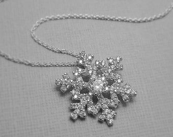 Snowflake Necklace, Sterling Silver and CZ Snowflake Pendant, Christmas Gift, Christmas Necklace, Gift for Her, Flower Girl Necklace