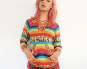 Vintage Rainbow Alpaca Print Fringed Hoodie Sweater