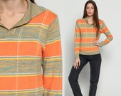 Collared Sweater 80s Boho SPACE Dye Knit STRIPED Print 70s Bohemian Slouchy Orange Nerd Pullover Vintage Retro Jumper Large