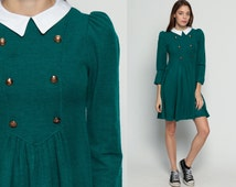 Peter Pan Collar Dress 80s Mini Long PUFF Sleeve Babydoll Double Breasted Button Up Grunge Lolita Dolly 1980s Vintage Green Extra Small xs