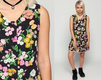 60s Mini Dress Mod Floral Drop Waist 1960s Scooter Vintage Sixties Twiggy Go Go Pink Green Button Up Sleeveless MiniDress Medium
