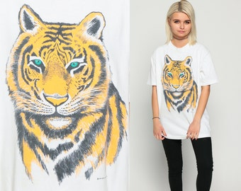 TIGER Shirt 90s Animal Tshirt Graphic Big Cat Tiger Face Retro T Shirt Cotton Screen Print Tee Vintage White 1990s Large