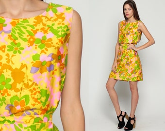 60s Mod Mini Dress Shift Floral Print Boho Twiggy 1960s BELTED Vintage Sixties Minidress 70s Flower Power Sleeveless Yellow Medium Large