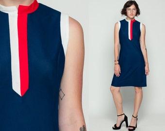 60s Mod Dress MINI Striped Navy Blue Red White Ringer 1960s Shift Stewardess Vintage Twiggy Sleeveless Sixties Gogo Minidress Large
