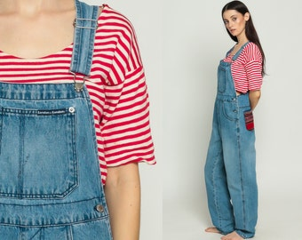 Overalls Pants Women TRIBAL PATCH 90s Denim GRUNGE Pants Ethnic Dungarees Wide Leg Baggy Coveralls Long 80s Hipster Vintage Small Medium