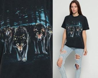 WOLF TShirt Animal T Shirt Wolf Pack 80s 90s Graphic Tshirt Tree Forest Black Hipster Screenprint 1980s Retro Shirt large
