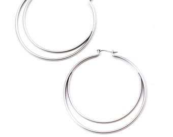 "Silver hoops unique design embellished with a sterling silver half arc enclosed in the interior of the sterling hoop - ""Meridian Earrings"""