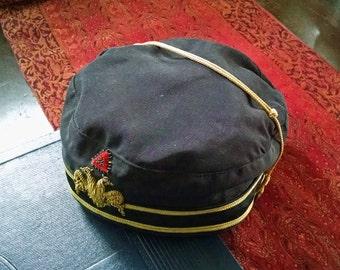Vintage Mason Hat Scottish Rite 32nd Degree Double Headed Eagle Emblem