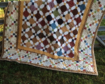 Nine patch & Snowball Quilt, Patchwork Quilt, Fall Quilt