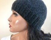 LORO PIANA 100% Pure Cashmere Womens Knit Hat Beanie, Charcoal Gray, Custom Sizes for Adult Woman Teens Girls // VARICK //