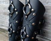 Oiled Black Leather Peaked Bracers or Gauntlets with Nickel Double Rings and Hardware