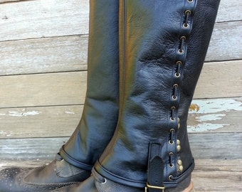 Black Garment Leather Steampunk Spats or Gaiters w Antiqued Brass Hardware
