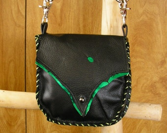 "Black and Metallic Emerald Green Leather Purse, Cross-body Bag, whip-stitched, ball button, 44"" removable leather strap, 7"" x 7""  x 1.5"""
