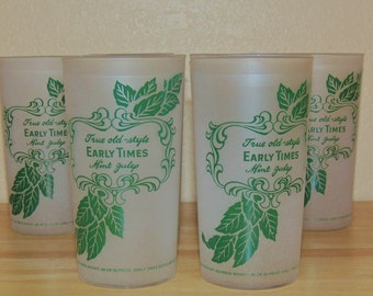 EARLY TIMES Mint Julep Frosted Glasses set of 4