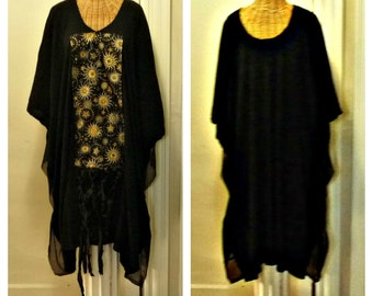 Gypsy Woman Dress Caftan M, L, XL, 1X, 2X, 3X, 4X, 5X, 6X Black Halloween Lagenlook Silk Sari Ribbons Celestial Designer Print Plus