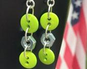Green Button earrings, button earrings, hardware earrings, industrial earrings, edgy earrings, urban earrings, lime button earrings