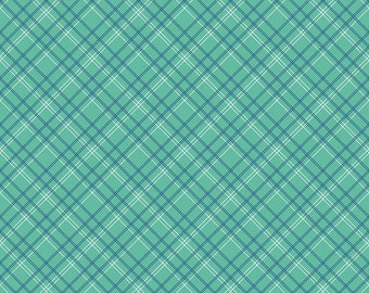 Calico Plaid Mint- Calico Days by Lori Holt for Riley Blake-C6036-Plaid Mint