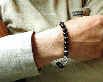 Men's Bracelet, Black Onyx & Rock Crystal, Beaded, Healing Stone, Yoga Bracelet, for Men, Guys, Dad, Him, Mens Onyx Jewelry