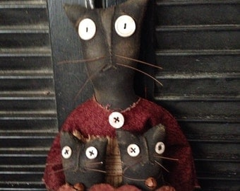 PriMitiVe Cat,Kit and Kaboodle Cat Doll ePatterN Instant Download
