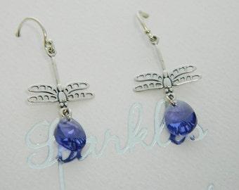 Sterling Silver Dragonfly Swarovski Crystal Earrings Ships Free
