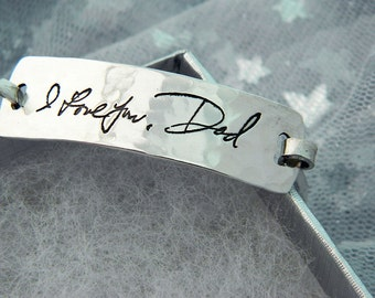 Handwriting Jewelry in Hammered Sterling Silver Signature Bracelet